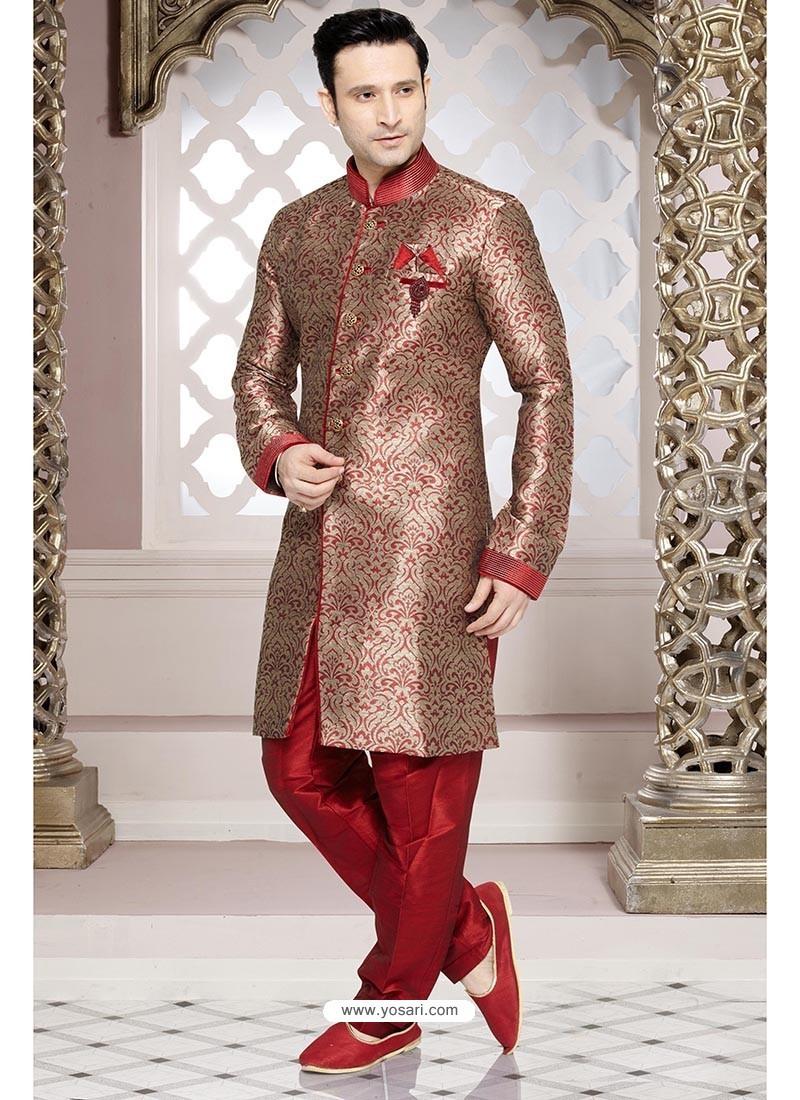 Buy Modish Red Wedding Sherwani