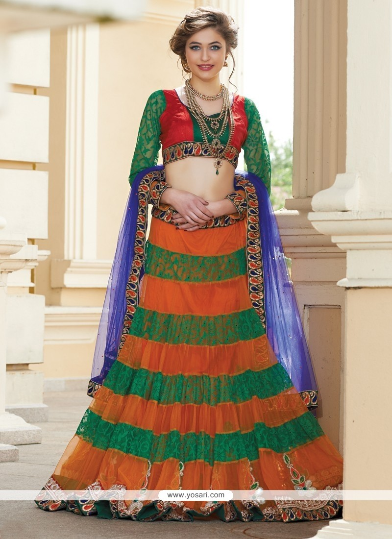 Flawless Orange And Green Net Lehenga Choli