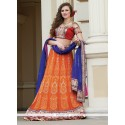 Orange Crepe Lehenga Choli