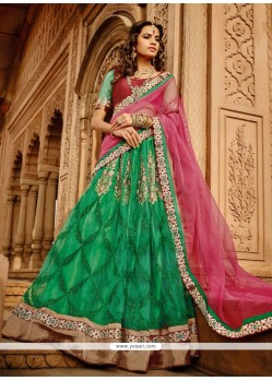 Luxurious Green Zari Work Net Lehenga Choli