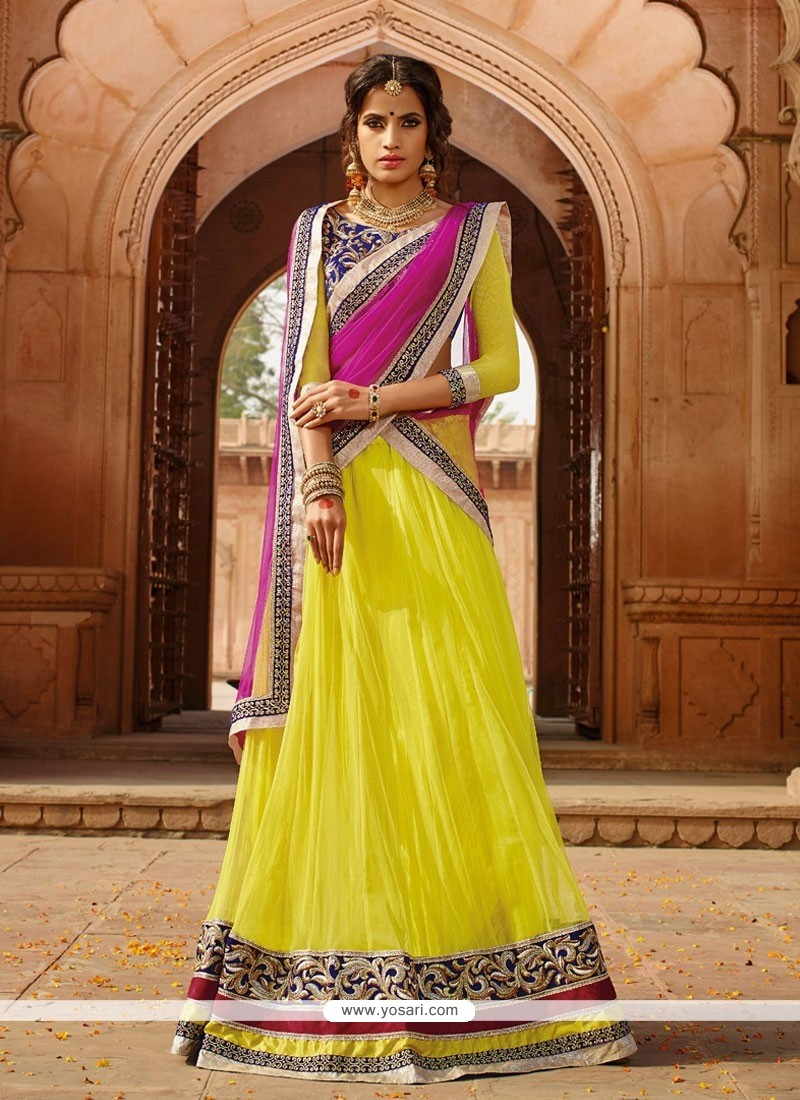 Magnificent Yellow Net Designer Lehenga Choli