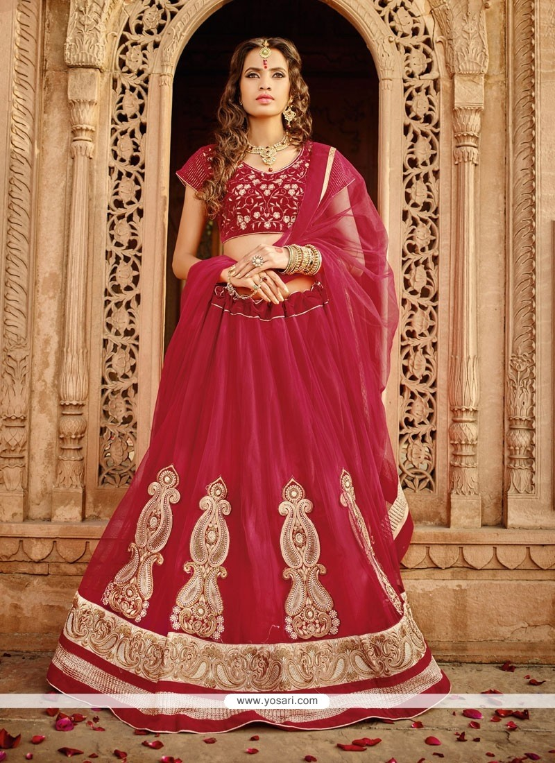 Glorious Maroon Net Wedding Lehenga Choli