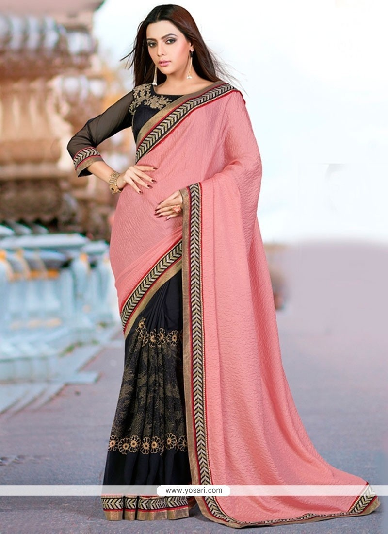 Regal Black And Pink Embroidered Work Classic Designer Saree