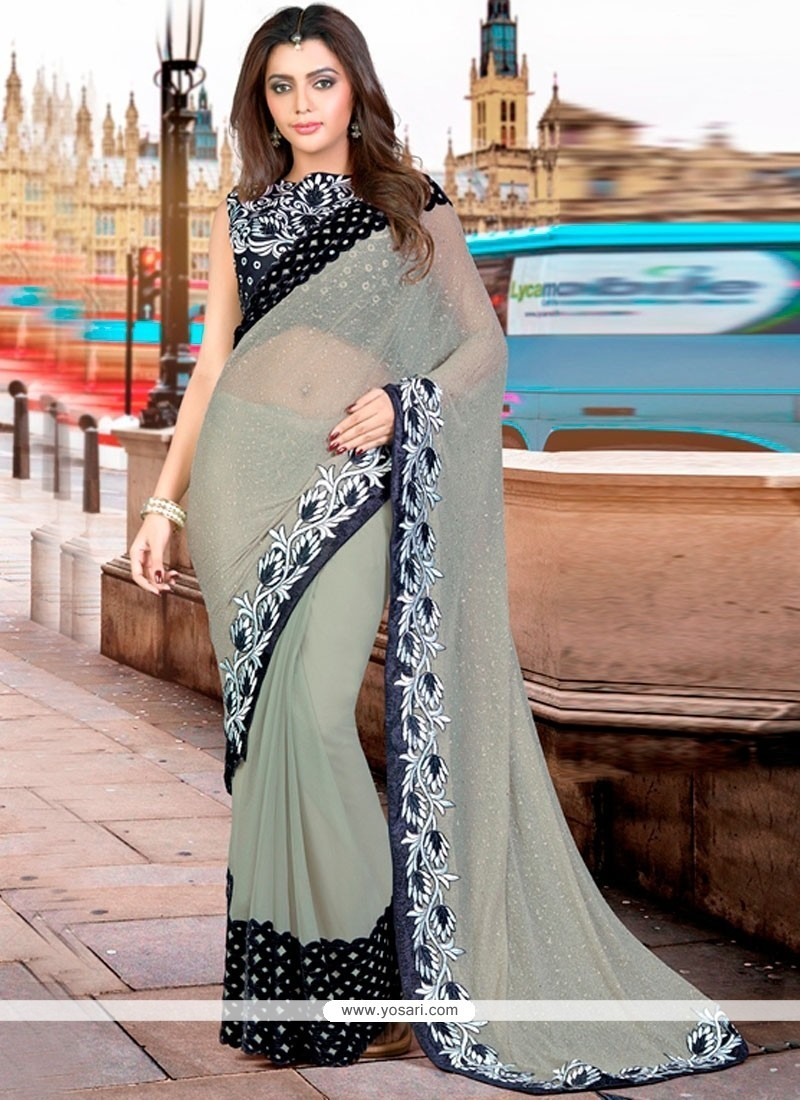 Modish Faux Georgette Black And Grey Zari Work Classic Designer Saree