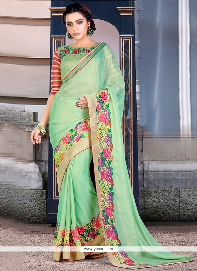 Chic Embroidered Work Sea Green Classic Designer Saree