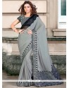 Hypnotic Grey Embroidered Work Traditional Saree