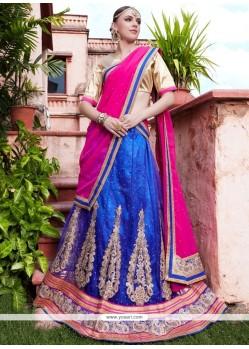 Amazing Blue And Hot Pink Net Lehenga Choli