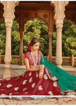 Natural Maroon Net Wedding Lehenga Choli