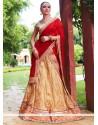 Girlish Gold And Red Embroidered Work Net Lehenga Choli