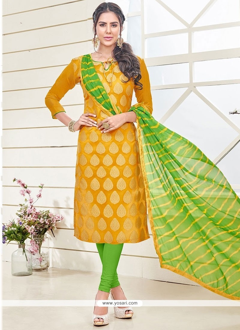 Pretty Lace Work Yellow Churidar Designer Suit