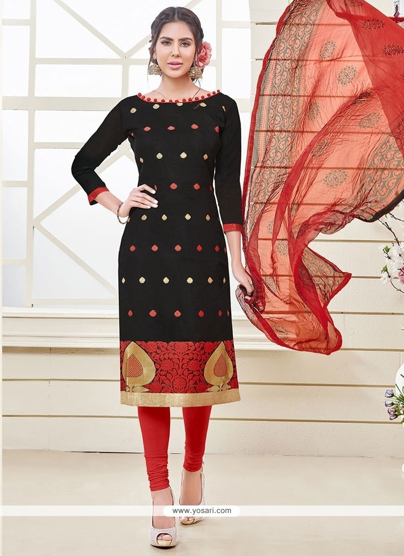 Graceful Black Jacquard Churidar Designer Suit