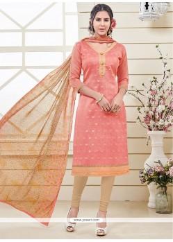 Glossy Banarasi Silk Peach Churidar Designer Suit