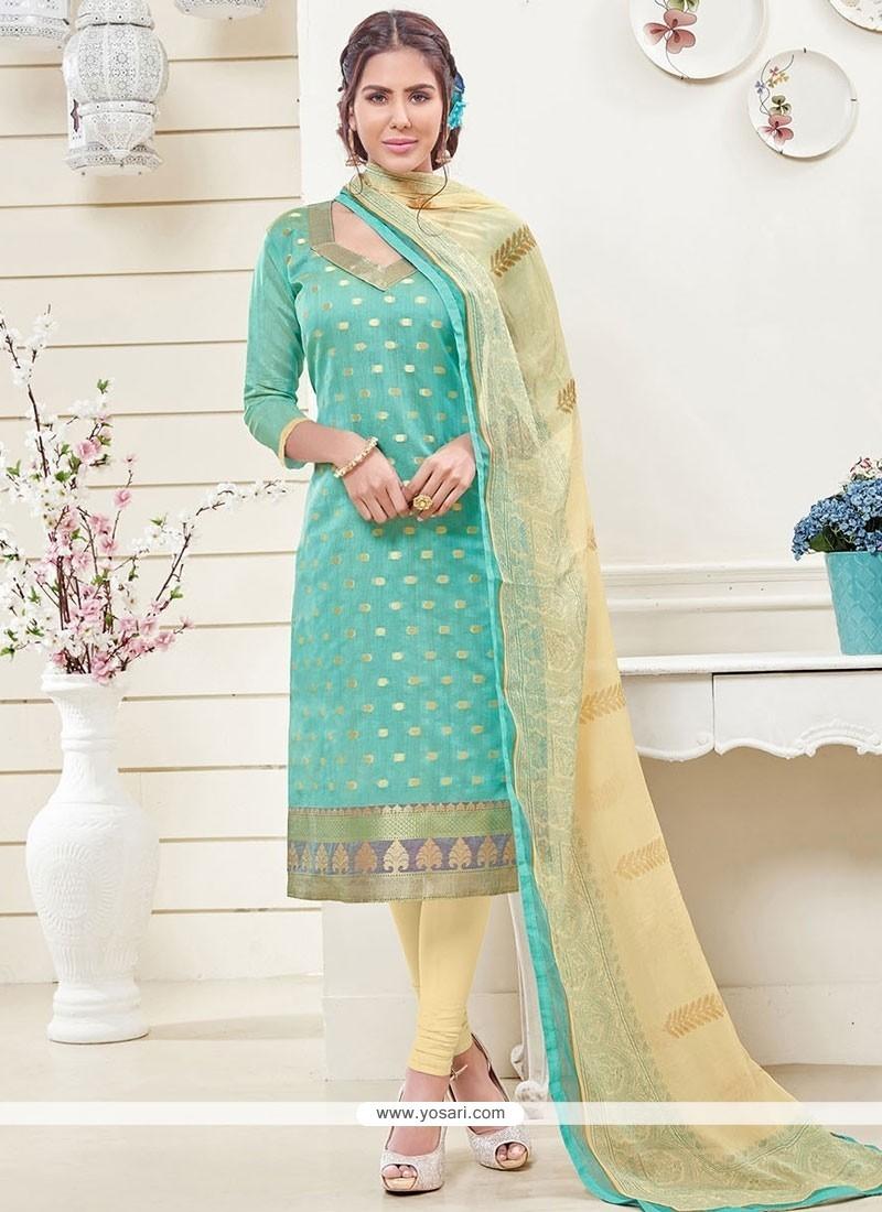 Sensible Turquoise Lace Work Banarasi Silk Churidar Designer Suit