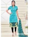 Bedazzling Lace Work Turquoise Churidar Designer Suit