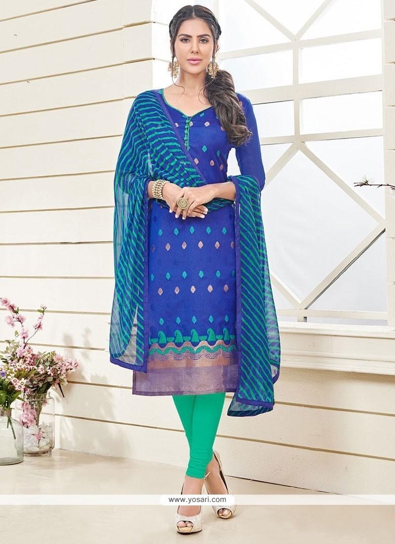 Sparkling Lace Work Blue Jacquard Churidar Designer Suit