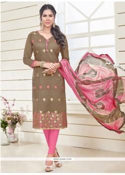 Brown Banarasi Silk Churidar Designer Suit