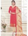 Beckoning Banarasi Silk Rose Pink Lace Work Churidar Designer Suit