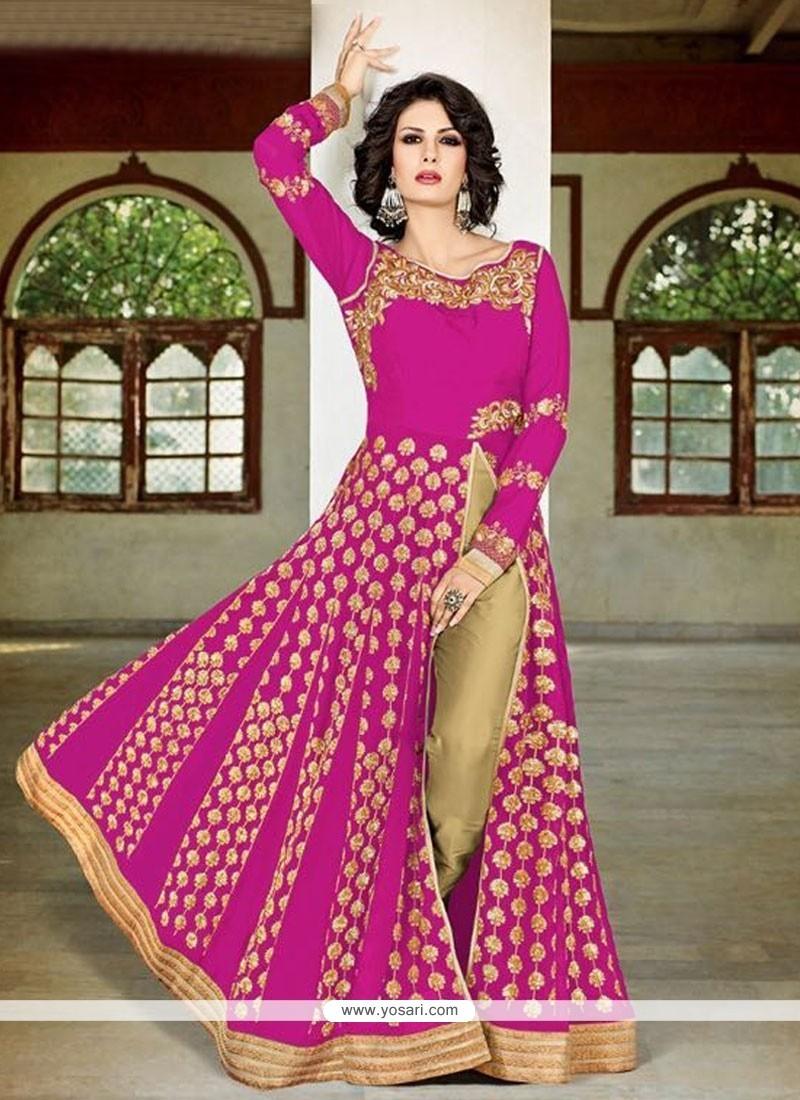 Suave Hot Pink Lace Work Faux Georgette Designer Suit