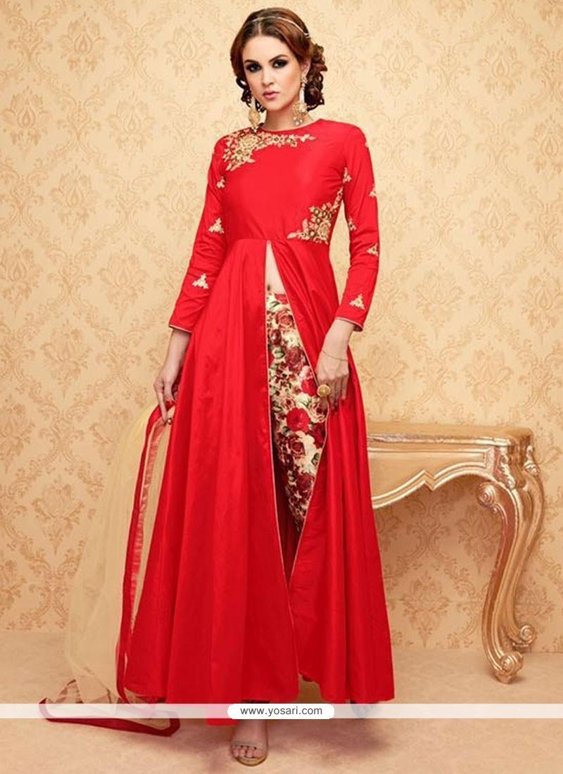 Haute Red Embroidered Work Designer Suit