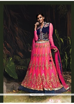 Invigorating Pink Net Wedding Lehenga Choli