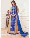 Ayesha Takia Beige And Blue Resham Work Designer Floor Length Salwar Suit