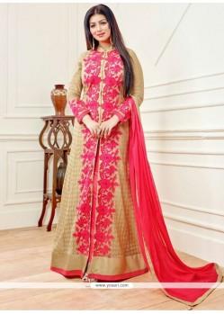 Ayesha Takia Beige And Hot Pink Designer Floor Length Salwar Suit