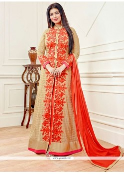 Ayesha Takia Embroidered Work Beige And Orange Designer Floor Length Salwar Suit