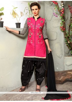Appealing Embroidered Work Black And Pink Cotton Punjabi Suit