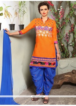 Sightly Embroidered Work Blue And Orange Punjabi Suit