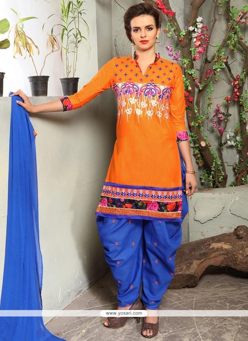 Sightly Embroidered Work Blue And Orange Punjabi Suit