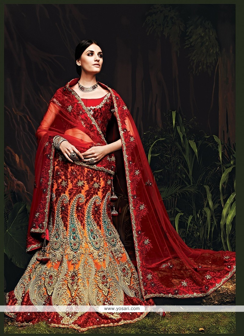 Gorgeous Orange Net Bridal Lehenga Choli