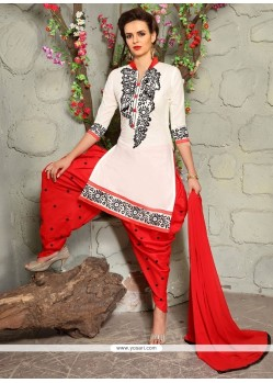Amusing Off White And Red Punjabi Suit