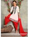 Amusing Off White And Red Punjabi Suit