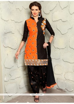 Exceptional Embroidered Work Black And Orange Cotton Punjabi Suit