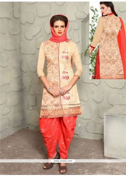 Magnificent Peach Embroidered Work Punjabi Suit
