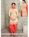 Magnificent Peach Embroidered Work Punjabi Suit