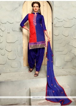 Irresistible Blue Embroidered Work Cotton Punjabi Suit
