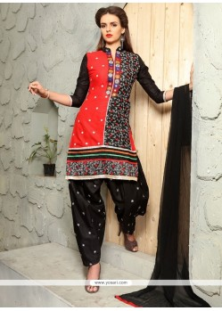 Whimsical Embroidered Work Black Cotton Punjabi Suit
