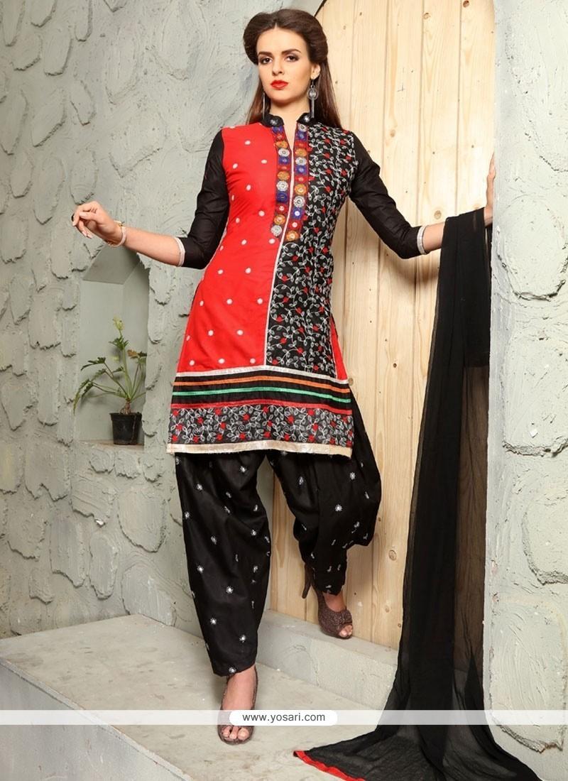 Whimsical Embroidered Work Black Cotton Punjabi Suit