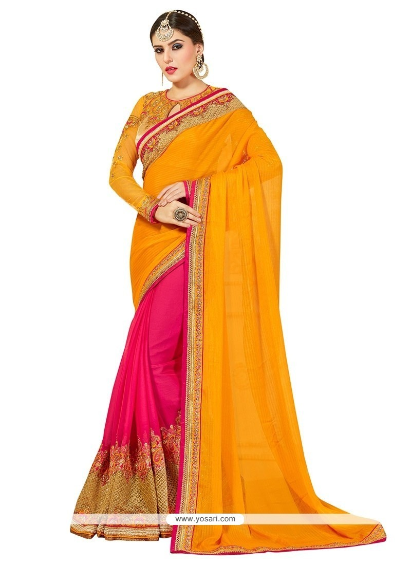 Modernistic Chiffon Satin Hot Pink And Yellow Designer Half N Half Saree