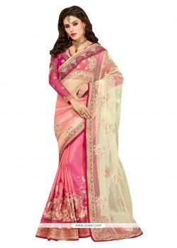 Majesty Beige And Pink Art Silk Designer Half N Half Saree
