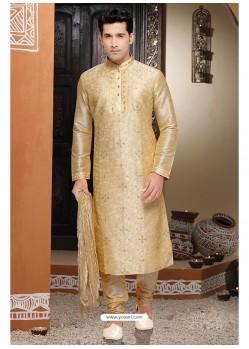 Impressive Golden Dhupion Kurta Pajama
