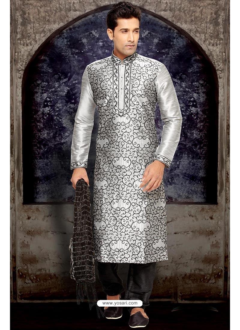 Sizzling Grey Wedding Kurta Pajama