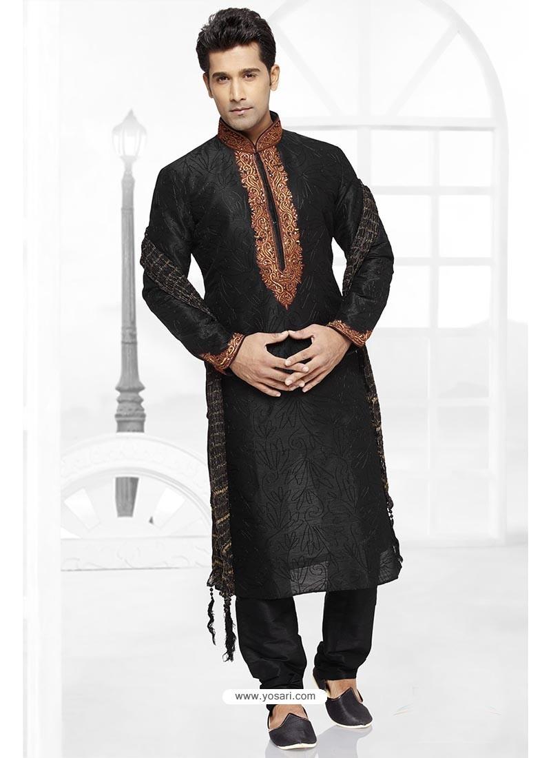 Trendy Black Wedding Kurta Pajama
