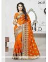 Patch Border Faux Georgette Classic Designer Saree In Orange