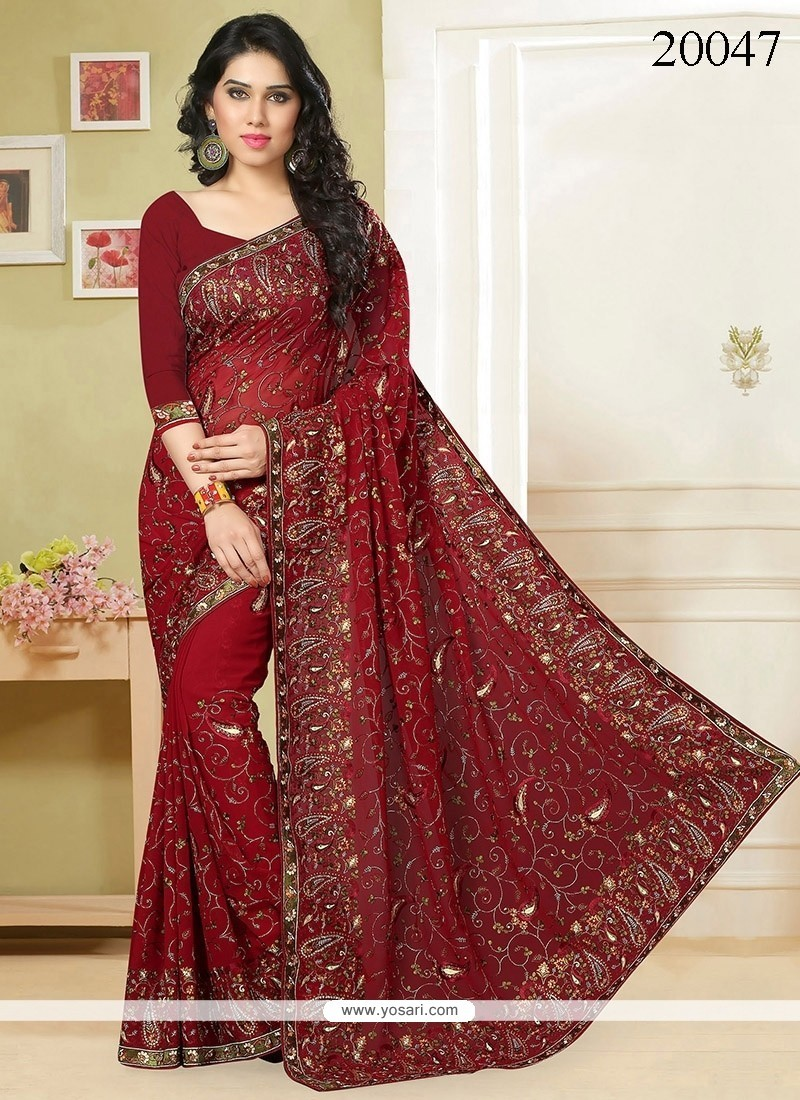 Snazzy Embroidered Work Faux Georgette Classic Designer Saree