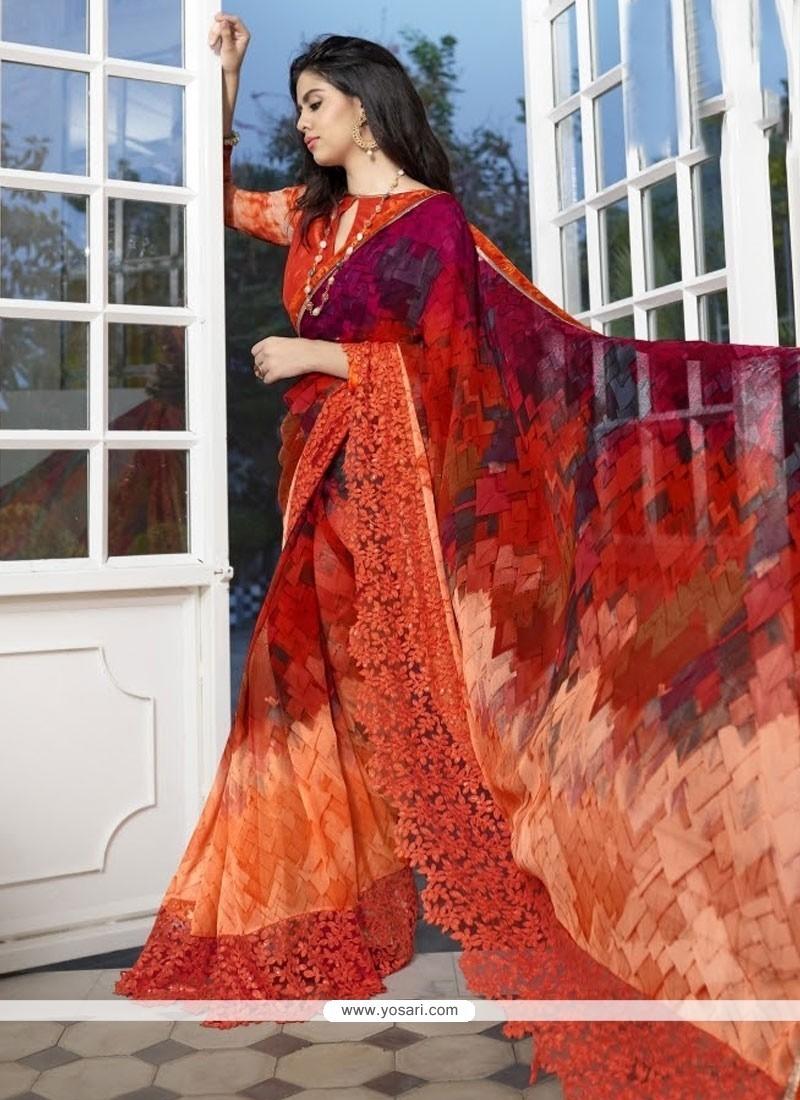 Sensible Print Work Multi Colour Faux Georgette Printed Saree