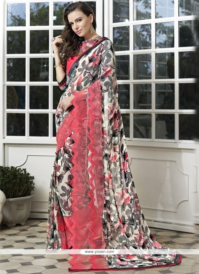 Elegant Print Work Printed Saree