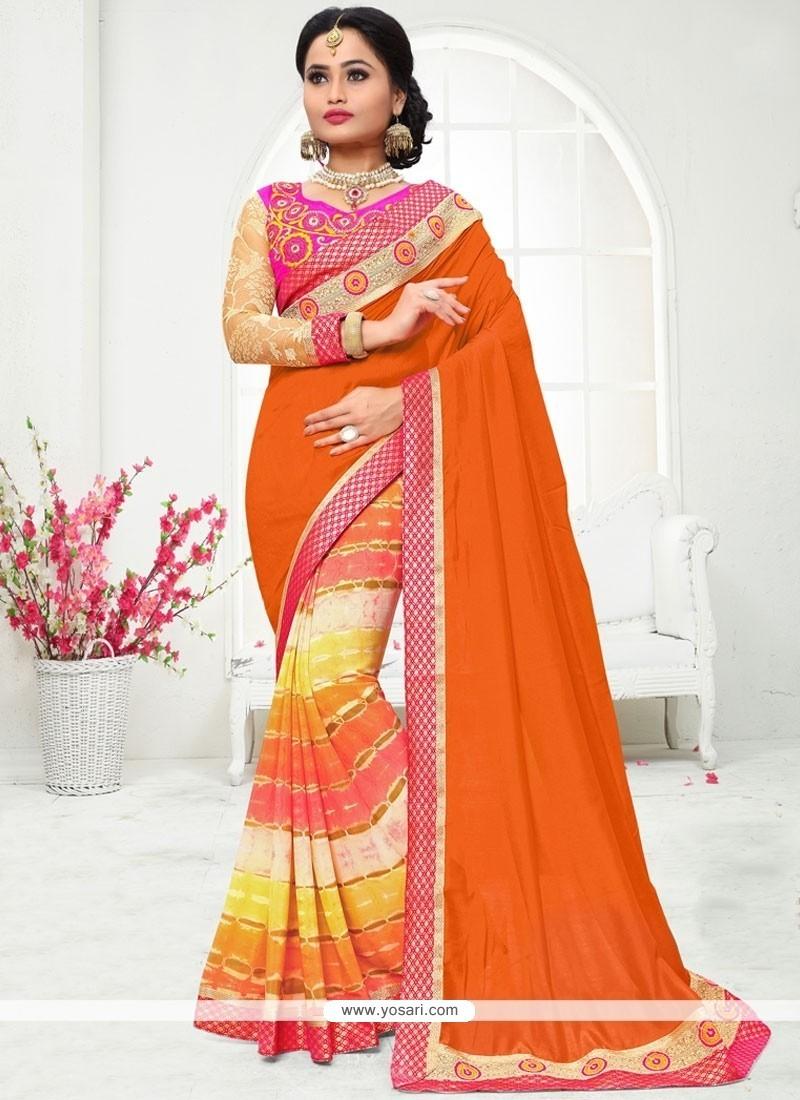 Excellent Orange Print Work Art Silk Printed Saree