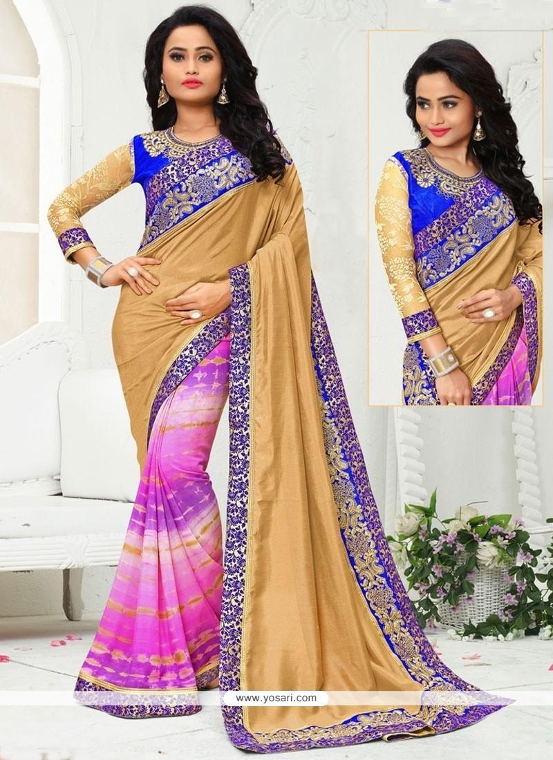 Girlish Crepe Silk Multi Colour Printed Saree